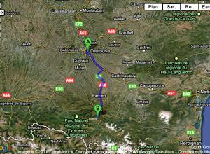 Itinéraire Toulouse <=> Prat d'albis à Foix